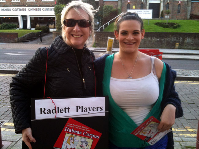Paula Welham, secretary of Radlett Players, and Georgia Dove, playing Felicity Rumpers in Habeas Corpus