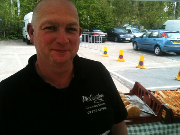 Peter McCarthy from McCarthy's Country Store, at Radlett farmers' market