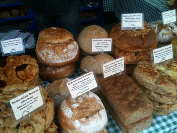 Bread from Redbournbury Watermill at Radlett farmers' market