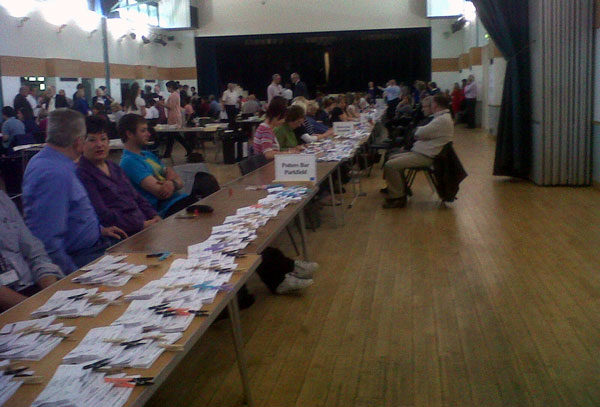 The count for the Hertsmere local elections and referendum that took place on 5 May 2011