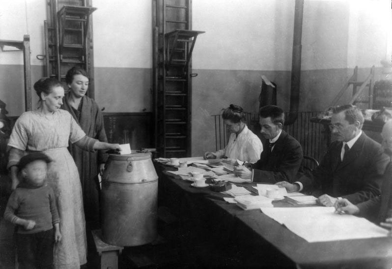 Voting rights for women. Dutch women going to the polls for the first time. The Netherlands, Amsterdam, 1921.