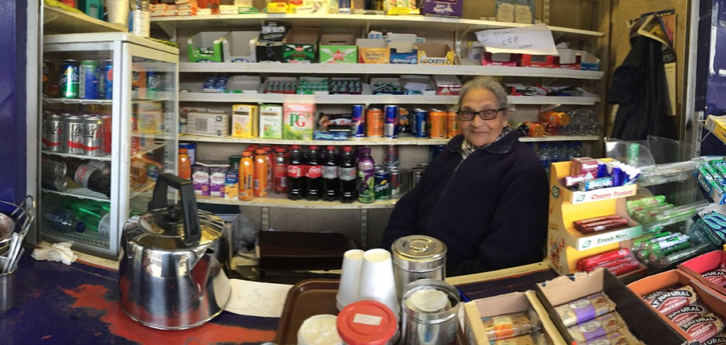 Rekha Patel in her kiosk on platform 1 at Radlett Station