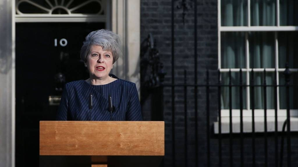 Prime Minister Theresa May announcing her decision to go for a snap general election in Downing Street on 18 May 2017
