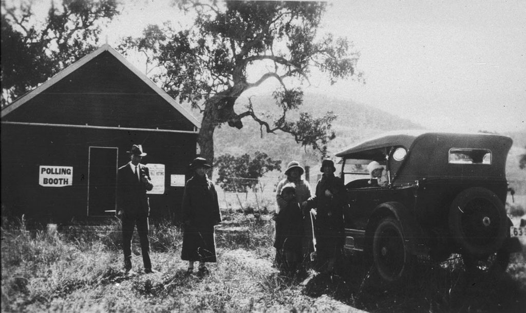 Polling station in New South Wales, Australia, in 1925